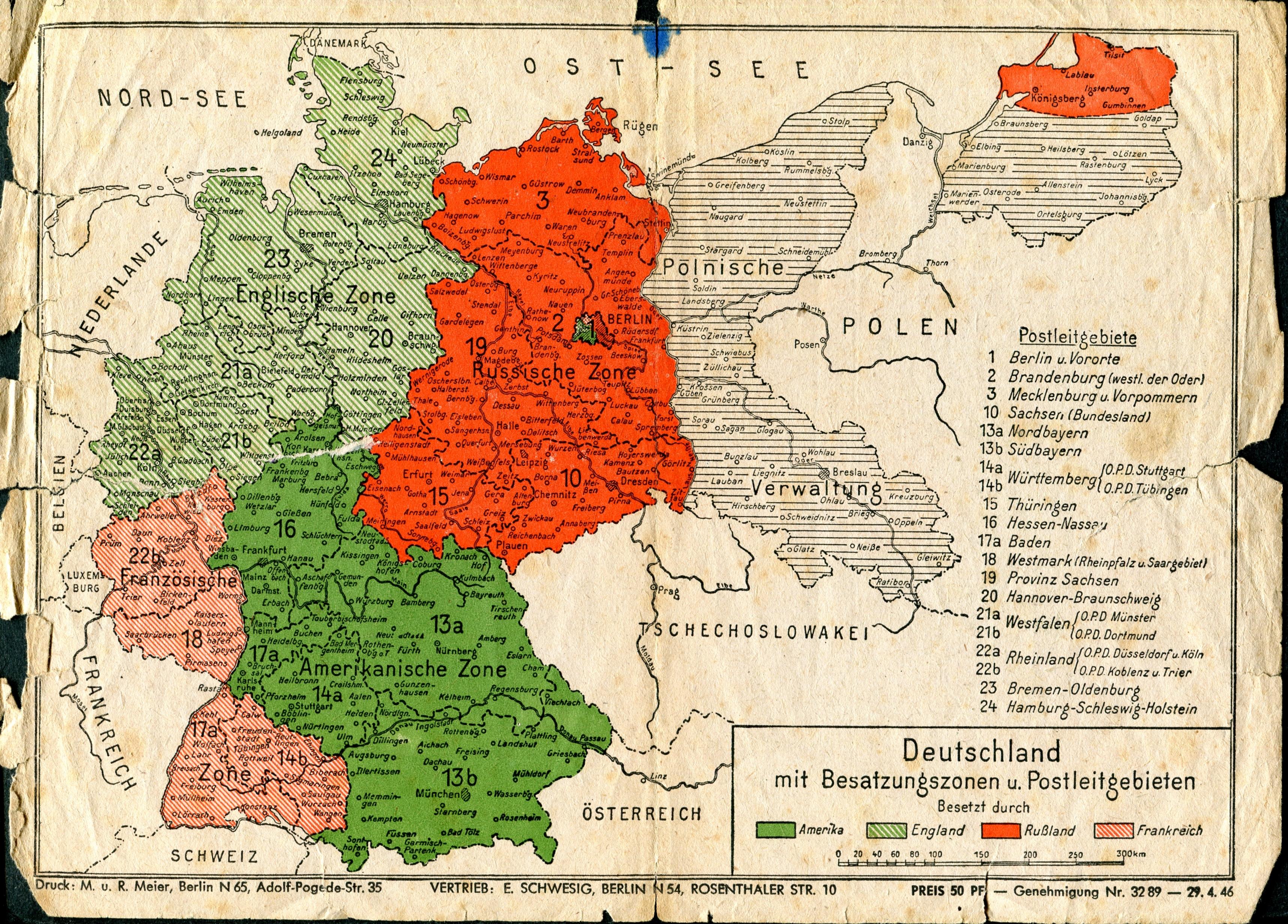 Pommern Karte Vor 1945.Zonengrenzen 1946